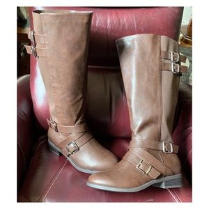 Torrid brown Faux leather boot wide width & calf